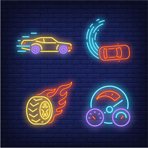 racing cars wheel on fire and speedometer neon signs set 1