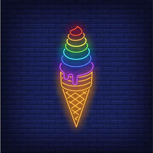 rainbow colored ice cream neon sign 1