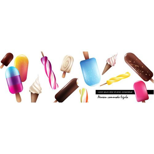 realistic fresh ice cream collection with bright colorful icecreams 1