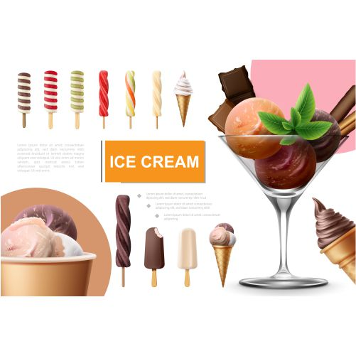 realistic ice cream collection with lollipop fruit 1