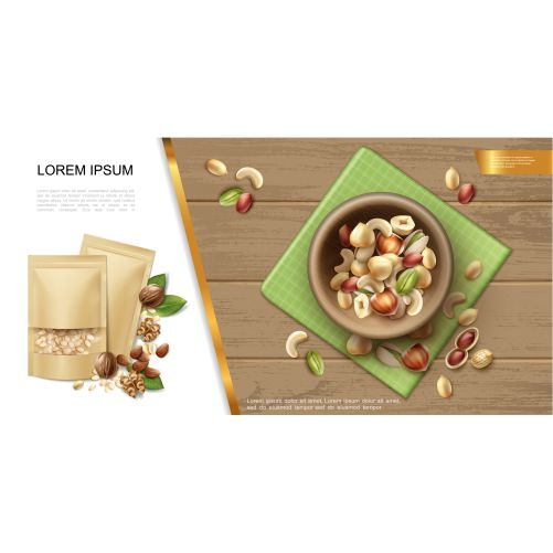 realistic organic natural nuts template with bowl different 1