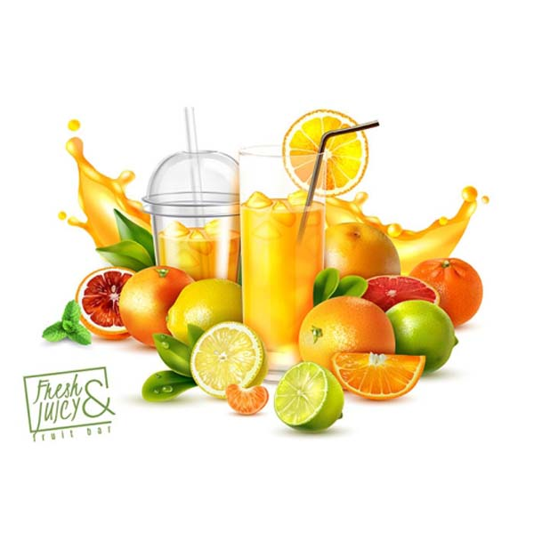 realistic poster with citrus fruits glasses cold fresh juice white 1