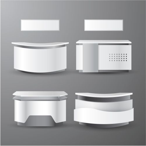 realistic reception counter table collection 1