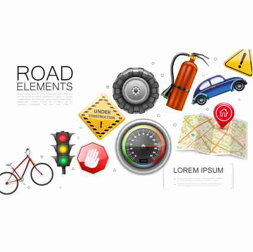 realistic road elements collection with bicycle traffic light speedometer map pointer tire car fire extinguisher construction warning signs isolated illustration 1