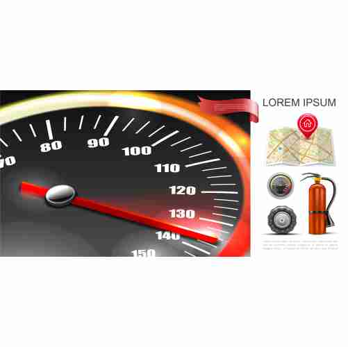 realistic road transportation composition with speedometer navigational map pins tractor tire fire extinguisher illustration 1