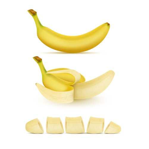 realistic set yellow bananas whole peeled sliced isolated background sweet trop 1