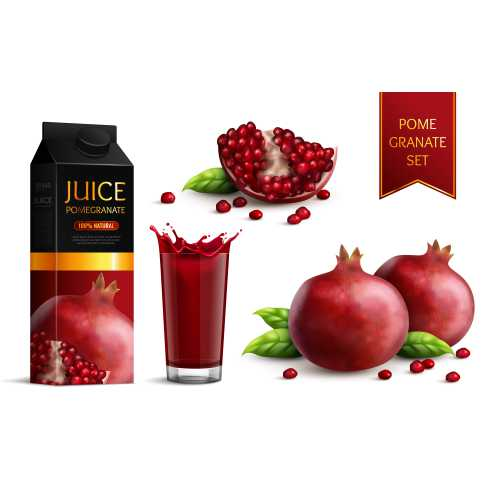 ripe dark red pomegranates whole segments scattered seeds juice package glass realistic images set 1