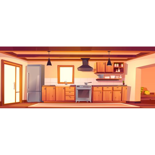 rustic kitchen empty interior with wood furniture 1