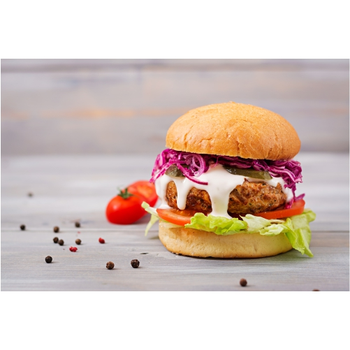 sandwich hamburger with juicy burgers tomato red cabbage 1