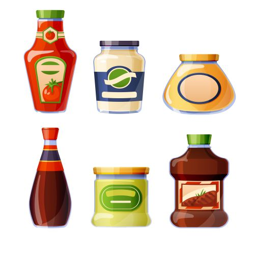 sauces and dressings in glass bottles 1