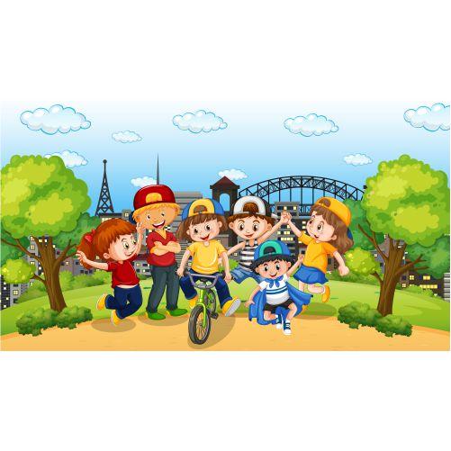 scene with many children park 1