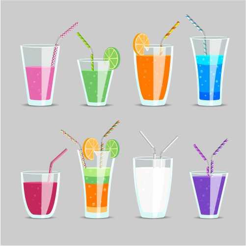 set cocktail fruit juice drinks glass milkshake orange tonic mix exotic ingredient with straw 1