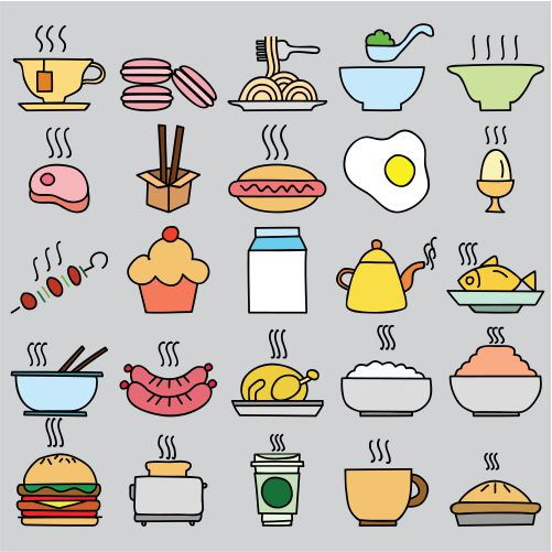 set colorful food icon vector illustration 1