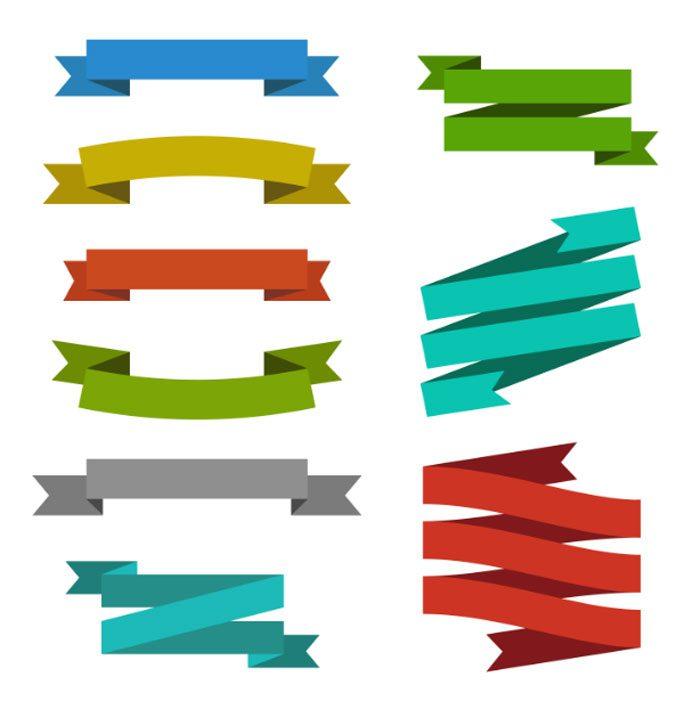 set creative modern ribbon banner label tag web element templates 1