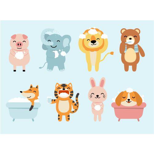set funny animals bathroom bathing shower rabbit fox dog lion elephant pig bear cartoon style 1