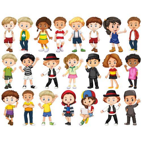 set of happy children waving hands 1