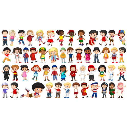set of multicultural kids character 1