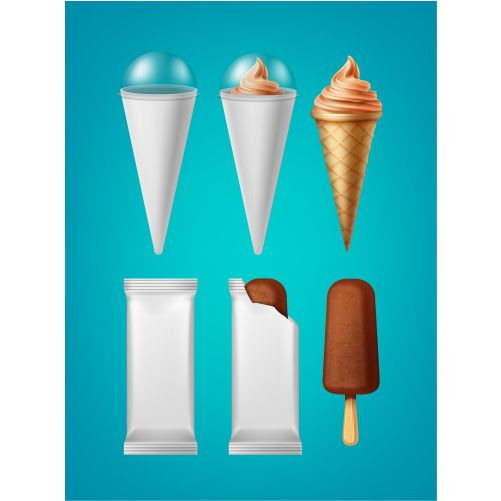 set packing cone ice cream classic popsicle ice cream isolated 1
