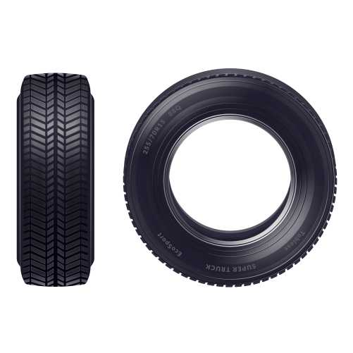 set realistic new car tires front profile view isolated white background illustration 1