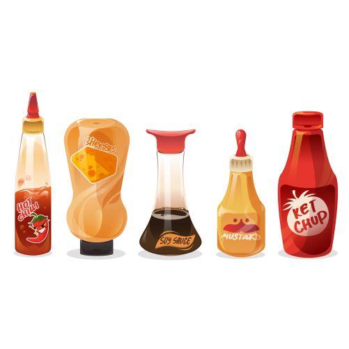 set sauces dressings glass plastic bottles 1
