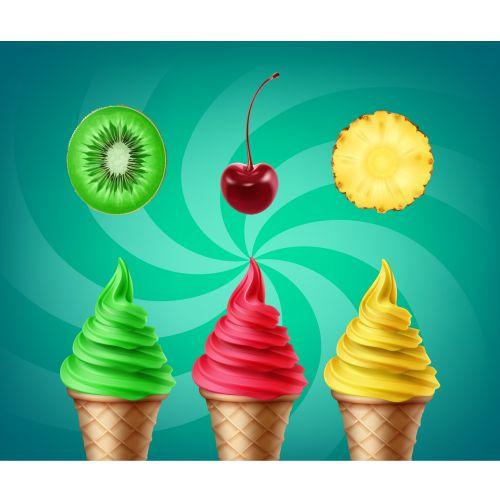 set soft ice cream with kiwi cherry pineapple tastes 1