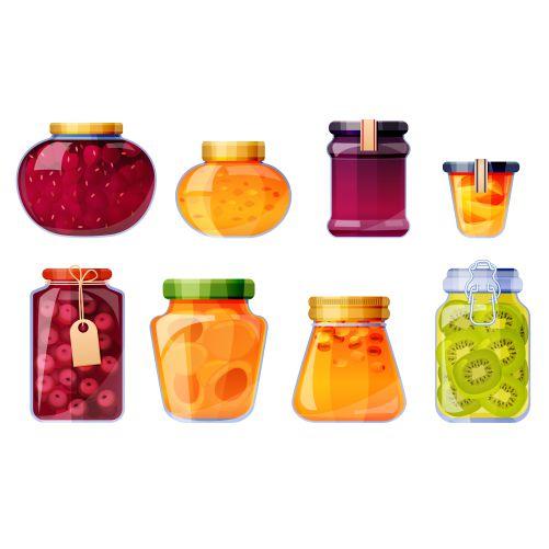 set sweet fruit conserves glass jars isolated illustration 1
