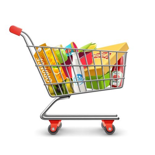 shopping supermarket cart with grocery pictogram 1