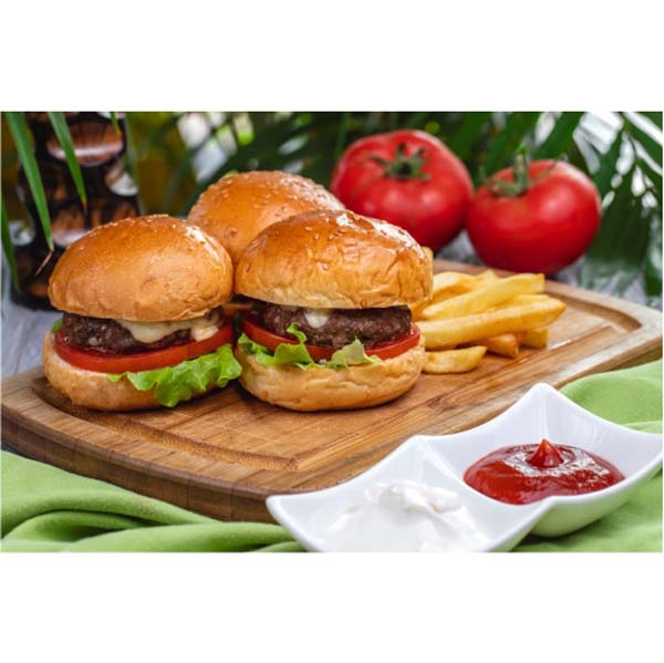 side view meat burgers with french fries ketchup mayonnaise board 1