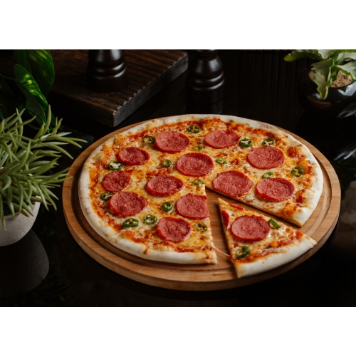 slice cut from classic pepperoni pizza with green pepper rolls 1
