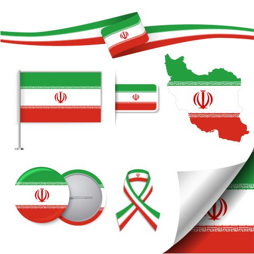 stationery elements collection with flag iran design 1