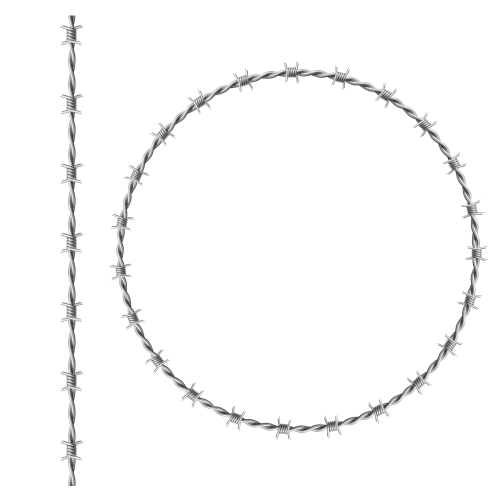 steel barbwire set circle frame from twisted wire with barbs isolated on white background realistic seamless border of metal chain with sharp thorns for prison fence military boundary 1