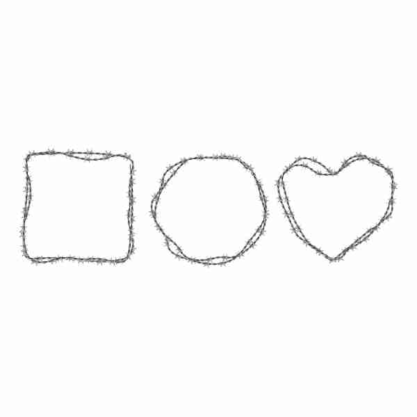steel barbwire set circle square heart shape frames from twisted wire with barbs isolated white 1