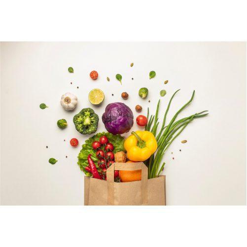 top view assortment vegetables paper bag 1