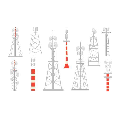 various radio towers flat set 1