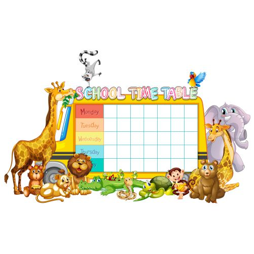 vecteezy a school timetable blank template with cartoons 684948 1