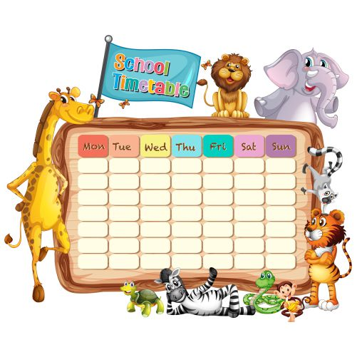 vecteezy a school timetable blank template with cartoons 684983 1