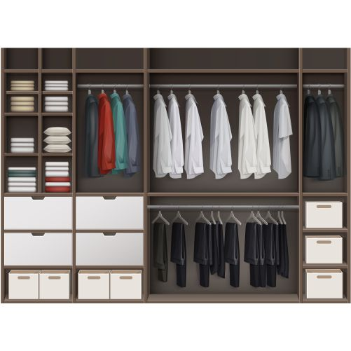 vector brown cloakroom closet with shelves full boxes clothes shirts boots shoes hats front view 1
