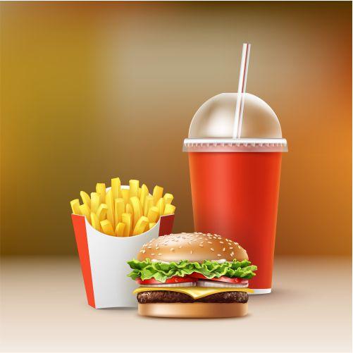 vector fast food set realistic hamburger classic burger 1