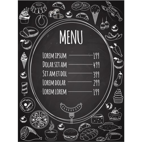 vector food menu written on chalkboard with food decoration on side 1