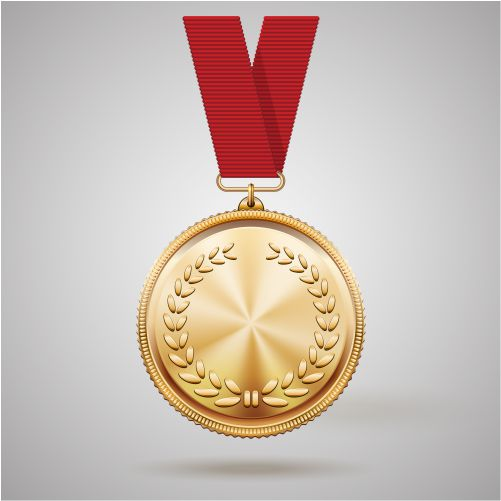 vector gold medal red ribbon with relief detail laurel wreath 1