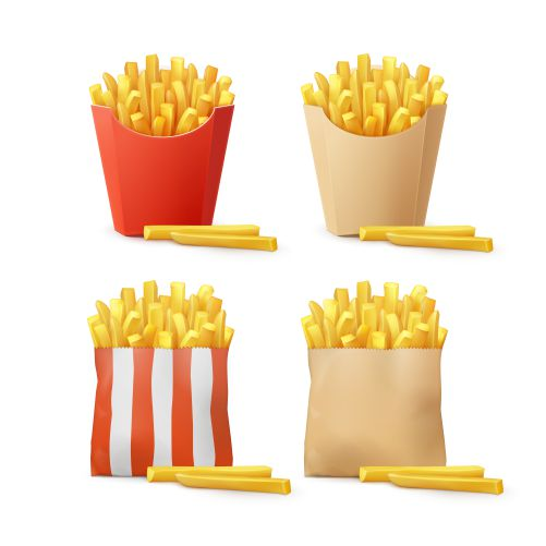 vector set potatoes french fries red white striped craft paper carton 1