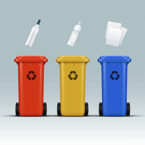 vector set red yellow blue recycle bins glass plastic paper wastes 1