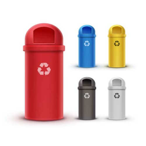 vector set red yellow blue white black recycle bins waste sorting 1