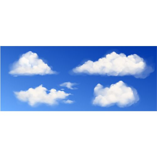 vector white fluffy clouds blue sky 1