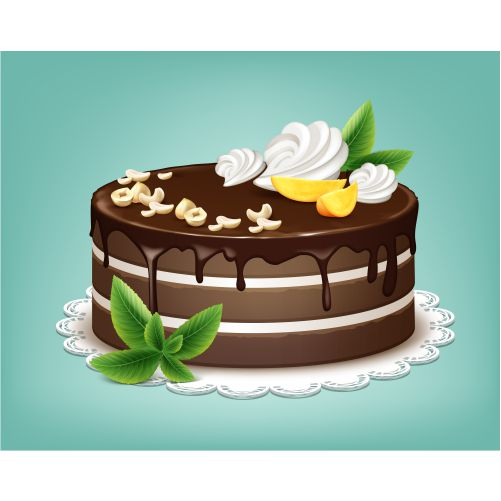 vector whole chocolate puff cake with icing 1