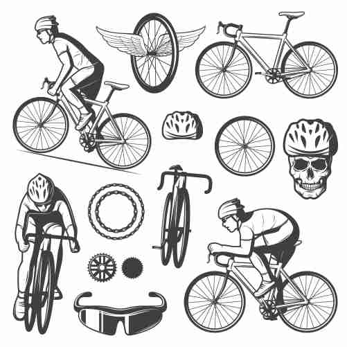 vintage cycling elements collection 1