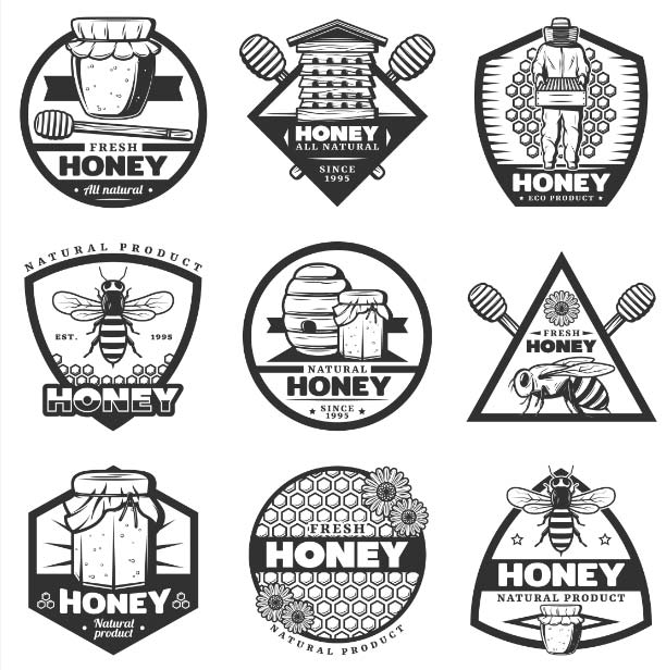 vintage monochrome honey labels set with hive beekeeper sticks bee flowers jars honeycombs isol 1