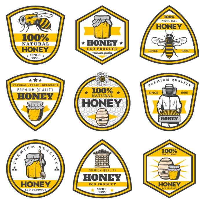vintage yellow honey emblems set with inscriptions bee pots hive beekeeper honeycombs 1 1