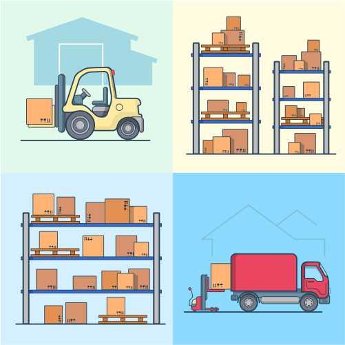warehouse rack shelving loader box loading van set 1