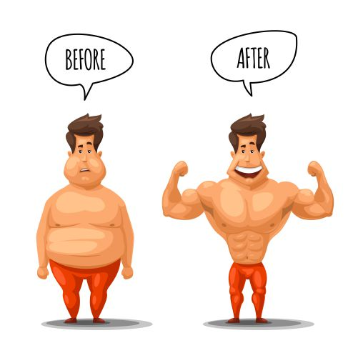weight loss man before after diet illustration man 1